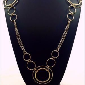 Vintage Chain Gold Necklace With Various Hoops